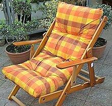 Sessel Liegestuhl Relax 3Positionen aus Holz zusammenklappbar Kissen gefüllt Farbe gelb