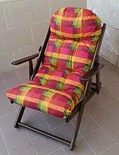 Sessel Liegestuhl Relax aus Holz klappbar Harmony Luxus Kissen Super Gepolsterte H 100cm Wohnzimmer Küche Lounge Sofa