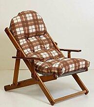 Sessel Liegestuhl Relax aus Holz klappbar Luxus Kissen Super Gepolsterte H 100cm Wohnzimmer Küche Lounge Sofa verstellbar 3Positionen