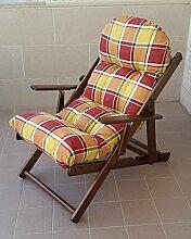 Sessel Liegestuhl Relax Haus und Garten aus Holz zusammenklappbar Kissen Super Gepolsterte H 100cm Wohnzimmer Küche Lounge verstellbar 3Positionen
