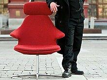 Sessel Loop Lounge hoch Lounge Sessel Drehsessel Loungesessel mit Drehgestell Polstersessel Relaxsessel mit Kopfstütze Headrest Gestell Aluminium poliert Infiniti, Farbe:Leder Weiß