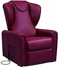 Sessel mit Aufstehhilfe MAGIC, 2 Motoren. Lederbezug in der Farbe Bulgar-Rot.