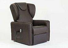 Sessel mit Aufstehhilfe MAGIC, 2 Motoren. Lederbezug in der Farbe Dunkelbraun.