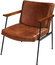 Sessel mit Bezug aus gealtertem braunem