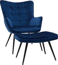 Sessel mit blauer Samt-Fußstütze MOOD - Miliboo
