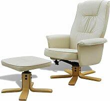Sessel mit Fußhocker Creme Kunstleder 08501 -