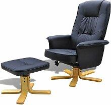 Sessel mit Fußhocker Schwarz Kunstleder 08502 -