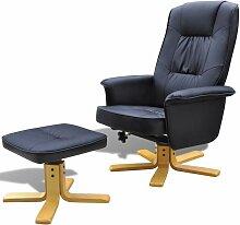 Sessel mit Fußhocker Schwarz Kunstleder - Youthup
