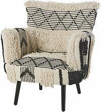 Sessel mit geflochtenem Baumwollbezug,