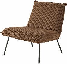 Sessel mit geripptem braunem Samtbezug Sam