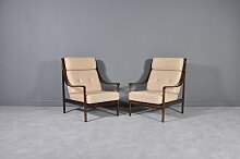 Sessel mit Gestell aus Mahagoni & hoher