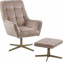 Sessel mit Hocker Beige Samtstoff Metall