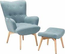 Sessel mit Hocker Hellblau Polsterbezug Wohnzimmer