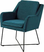 Sessel mit petrolblauem Samtbezug und schwarzem