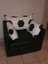 Sessel mit Schlaffunktion im Fussball Design weiß schwarz