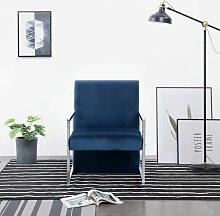 Sessel mit verchromten Füßen Blau Samt
