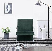 Sessel mit verchromten Füßen Dunkelgrün Samt