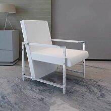 Sessel mit verchromten Füßen Kunstleder Weiß