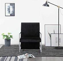 Sessel mit verchromten Füßen Schwarz Samt -