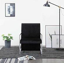 Sessel mit verchromten Füßen Schwarz Samt