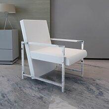 Sessel mit verchromten Füßen Weiß Kunstleder -