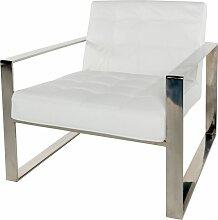 Sessel mit weißem Lederbezug und Füßen aus