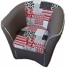 Sessel Sessel Valentina aus Kunstleder und Stoff Muster Sofa