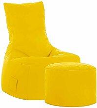Sessel Sitzsack mit Hocker Gelb Tiefe 65 cm mit Fußhocker Nein Pharao24