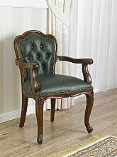Sessel Stuhl mit Armlehnen Ministerieller berufungssystems Holz Walnuss Kunstleder grün Englisch