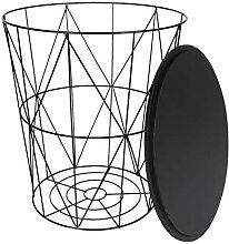 Sesua Drahtkorb mit Deckel Sitzkorb Metallkorb