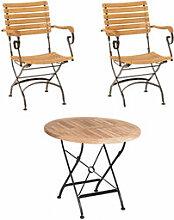 Set 1: Tisch + 2 Stühle - Klassisch elegante