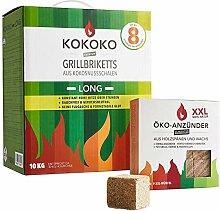 Set: 10 kg KOKOKO LONG Bio Kokos Grillbriketts in