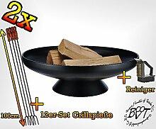 SET 2 Feuerschale grillzubehör mit Grillzubehör: je 12 Grillspiesse und Reinigungsbürste