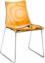 Set 2Stück. Stuhl Zebra auf Schlitten Scab Design Trasparente (Sedile)