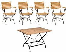 Set 2: Tisch + 4 Stühle - Klassisch elegante
