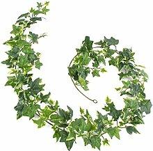 Set 2 x Künstliche Efeu Girlanden ELENA, 171 Blätter, weiß-grün, 180 cm - Efeu künstlich / Efeu Dekoration - artplants
