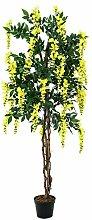 Set 2 x Künstlicher Goldregenbaum, 2020 Blätter, Echtstamm, 1000 Blüten, gelb, 180 cm - Künstliche Pflanze / Deko Blumen - artplants