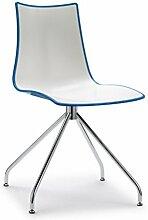 Set 2 Zebra Zweifarbig Gestell Stuhl