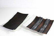 Set 2er DEKO-SCHALE silber braun Metall
