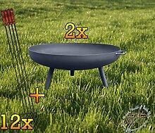 Set: 2X Feuerschale XL ca. 55cm für Grill,