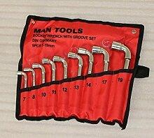 Set 44083309 9 Stücke Gabelringschlüssel Steckschlüsselsatz L Form gebogen Reparatur Werkzeuge in der Garage Auto