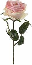 Set 6 x künstliche Rose SIMONY, zartrosa, Textil, 45 cm, Ø 8 cm - Deko Blume / Kunst Pflanze- artplants