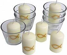Set: 6x Kerzen Fisch Gold und 6x Votivglas Kommunion Taufe Konfirmation Tischdeko Kerzendeko