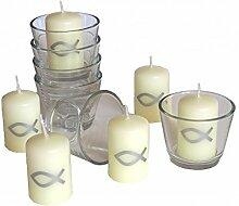 SET: 6x Votivglas 6x Kerzen Fisch Silber Kommunion