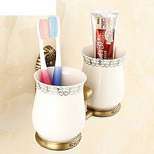 set antiker Becher/Europäische Vintage geschnitzten Zahnbürste Getränkehalter/Keramiktasse