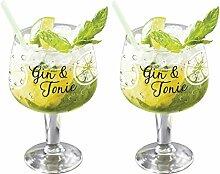 Set aus 2 Gin & Tonic-Gläsern, G&T-Ballongläser,