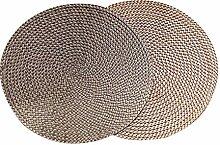 Set aus 2 handgefertigten runden Baumwollfaden Tischsets Isolierkissen, 38CM