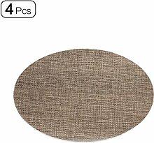 Set aus 4Ovale Tisch-Sets PVC Wasserdicht Tischdecke Wärmedämmung Esstisch Matte 45x 30cm braun