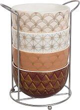 Set aus 4 Schalen, gemustert, Keramik mit Ständer