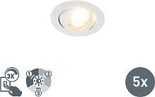 Set aus 5 modernen LED-Einbaustrahlern weiß